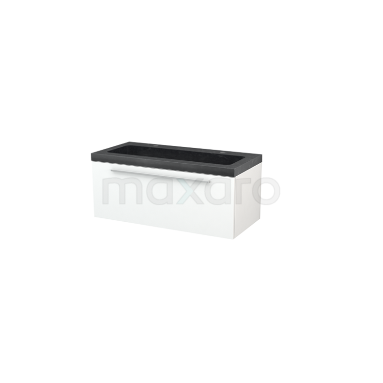Maxaro Modulo+ BMP001819 Badkamermeubel 100cm Modulo+ Mat Wit 1 Lade Vlak Wastafel Natuursteen Graniet