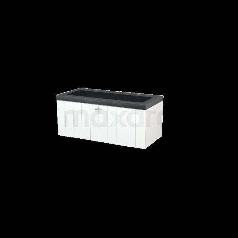 Badkamermeubel 100cm Modulo+ Mat Wit 1 Lade Lamel Wastafel Natuursteen Graniet
