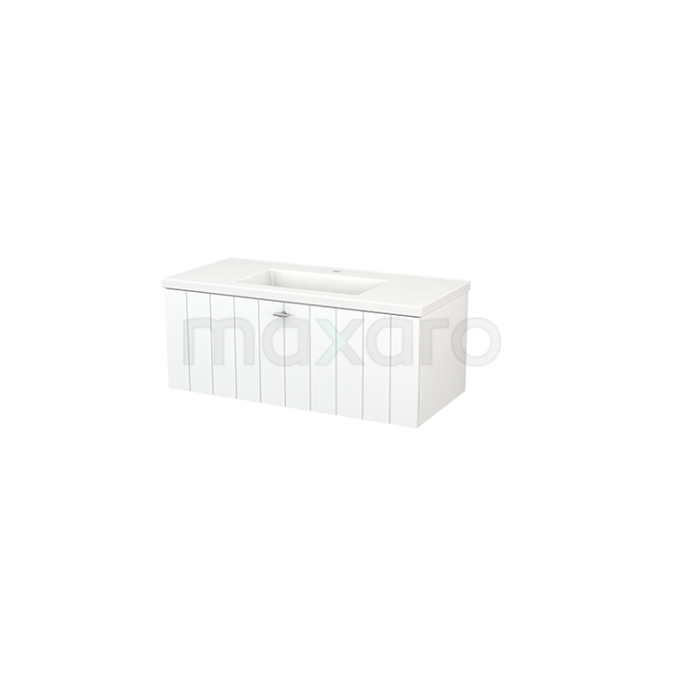 Badkamermeubel 100cm Modulo+ Mat Wit 1 Lade Lamel Wastafel Keramiek