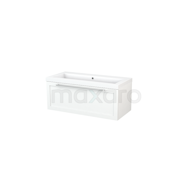 Maxaro Modulo+ BMP001838 Badkamermeubel 100cm Modulo+ Mat Wit 1 Lade Kader Mineraalmarmer