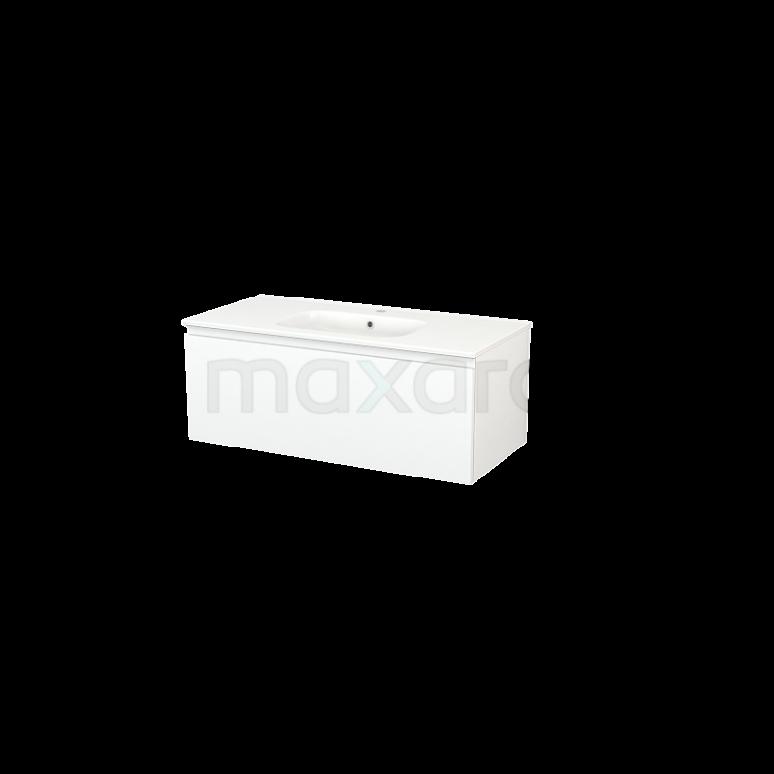 Badkamermeubel 100cm Modulo+ Mat Wit 1 Lade Greeploos Wastafel Keramiek