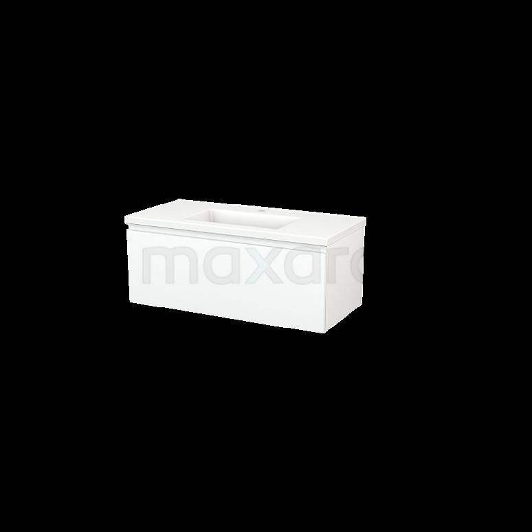 Maxaro Modulo+ BMP001857 Badkamermeubel 100cm Modulo+ Mat Wit 1 Lade Greeploos Wastafel Keramiek