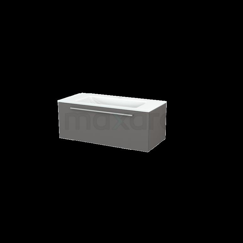 Badkamermeubel 100cm Modulo+ Basalt 1 Lade Vlak Wastafel Glas