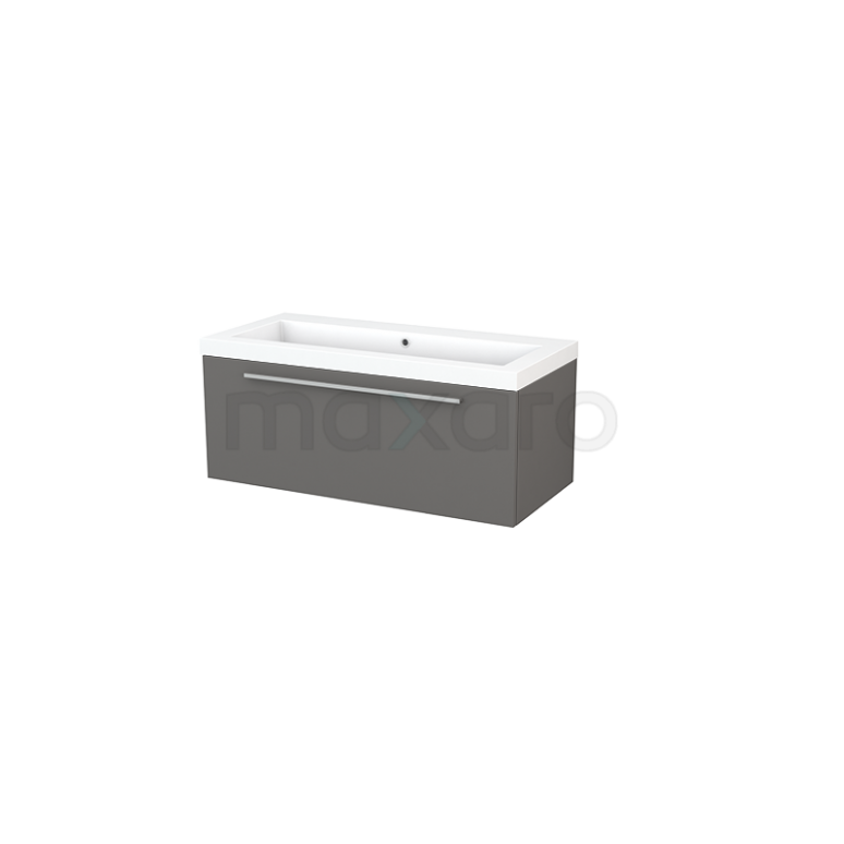 Badkamermeubel 100cm Modulo+ Basalt 1 Lade Vlak Wastafel Mineraalmarmer