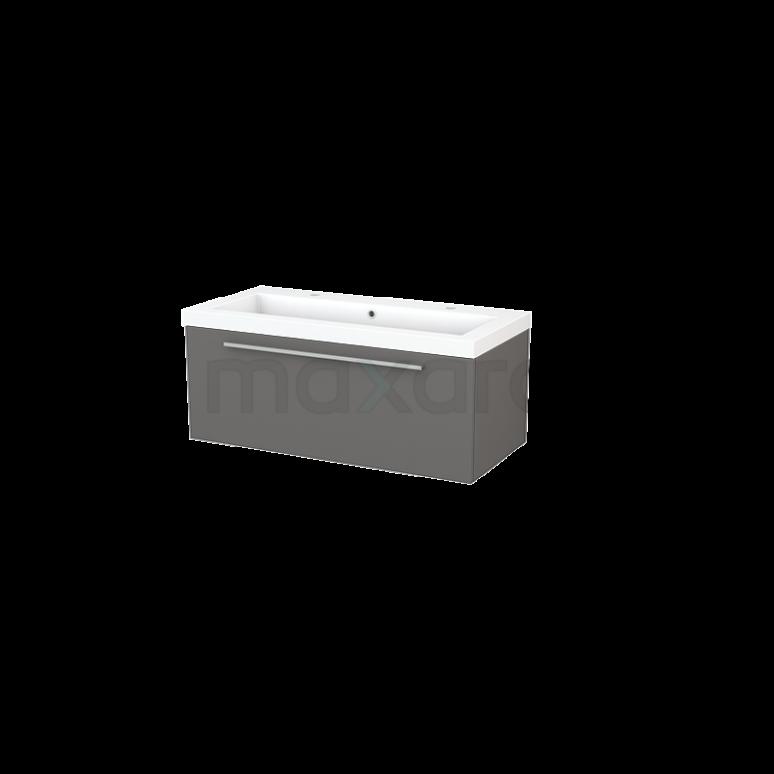 Maxaro Modulo+ BMP001861 Badkamermeubel 100cm Modulo+ Basalt 1 Lade Vlak Wastafel Mineraalmarmer