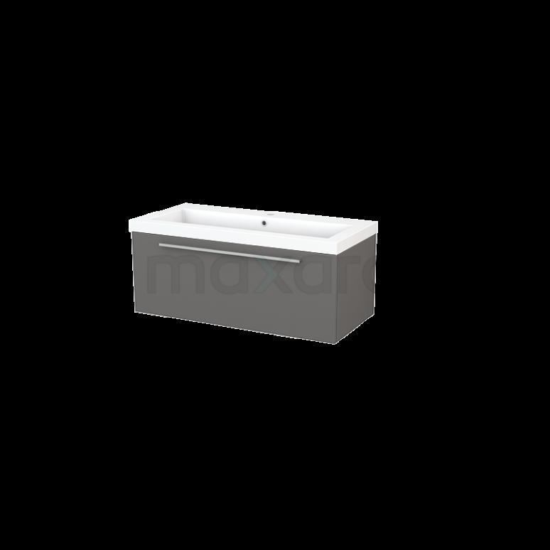 Maxaro Modulo+ BMP001862 Badkamermeubel 100cm Modulo+ Basalt 1 Lade Vlak Mineraalmarmer