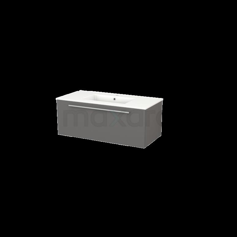 Badkamermeubel 100cm Modulo+ Basalt 1 Lade Vlak Wastafel Keramiek