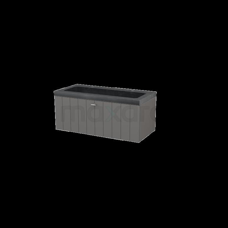 Badkamermeubel 100cm Modulo+ Basalt 1 Lade Lamel Wastafel Natuursteen Graniet