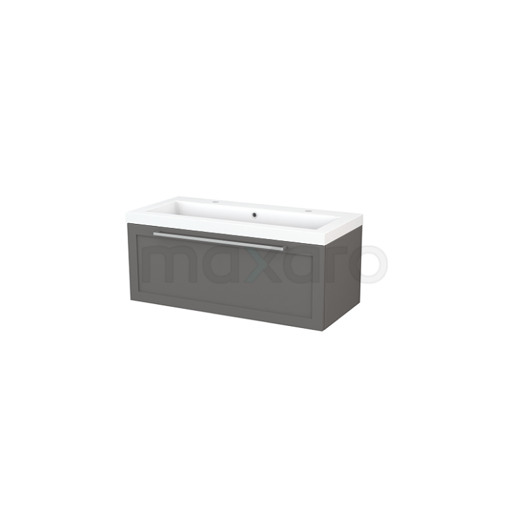 Badkamermeubel 100cm Modulo+ Basalt 1 Lade Kader Wastafel Mineraalmarmer
