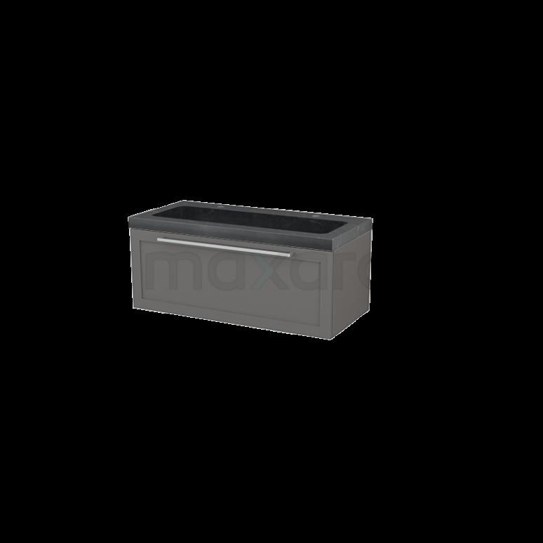 Badkamermeubel 100cm Modulo+ Basalt 1 Lade Kader Wastafel Natuursteen Graniet