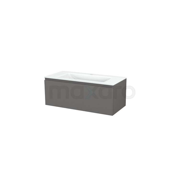 Badkamermeubel 100cm Modulo+ Basalt 1 Lade Greeploos Wastafel Glas