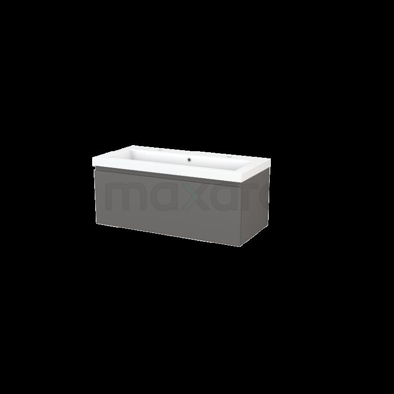 Badkamermeubel 100cm Modulo+ Basalt 1 Lade Greeploos Wastafel Mineraalmarmer