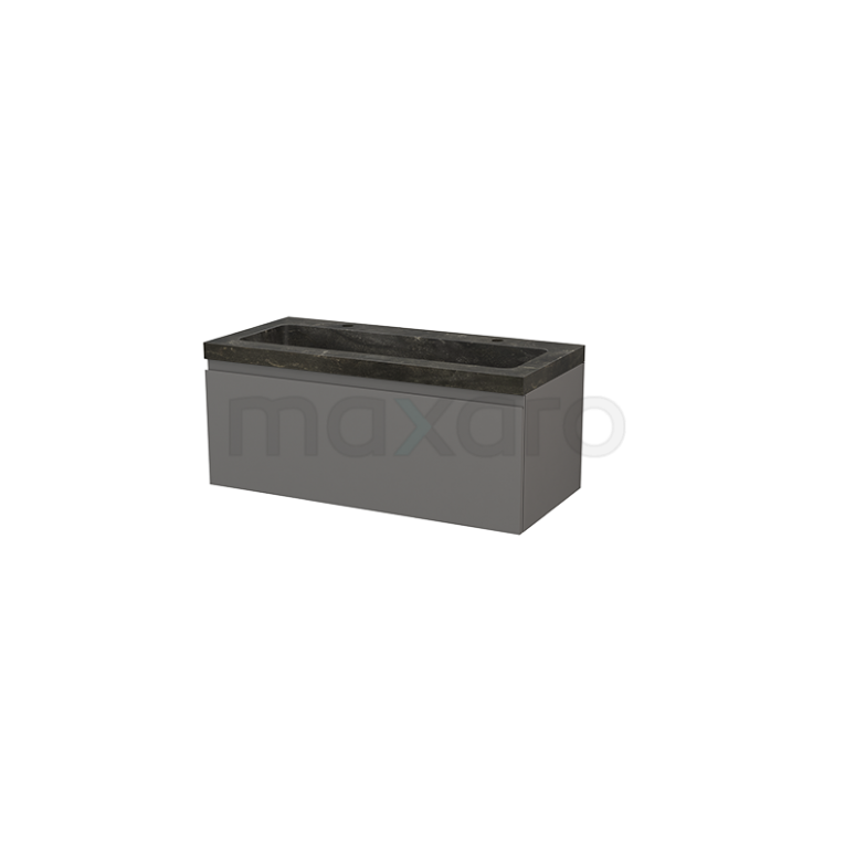 Badkamermeubel 100cm Modulo+ Basalt 1 Lade Greeploos Wastafel Natuursteen Blue Stone