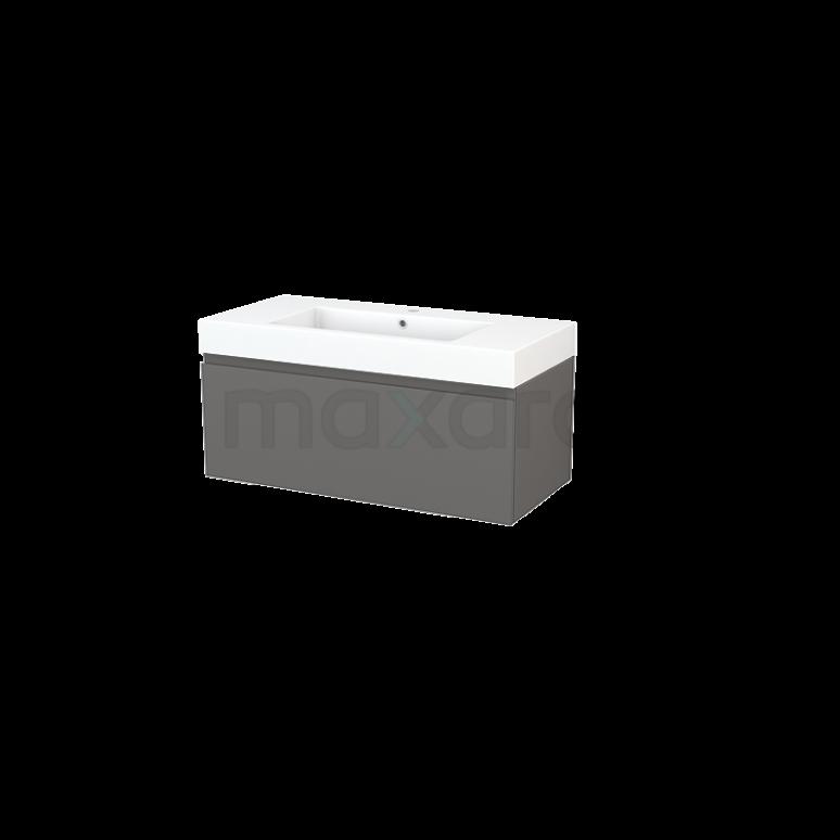 Maxaro Modulo+ BMP001898 Badkamermeubel 100cm Modulo+ Basalt 1 Lade Greeploos Mineraalmarmer