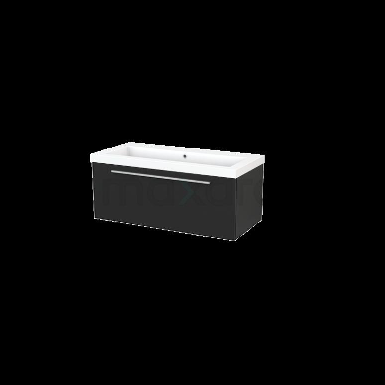 Badkamermeubel 100cm Modulo+ Carbon 1 Lade Vlak Wastafel Mineraalmarmer