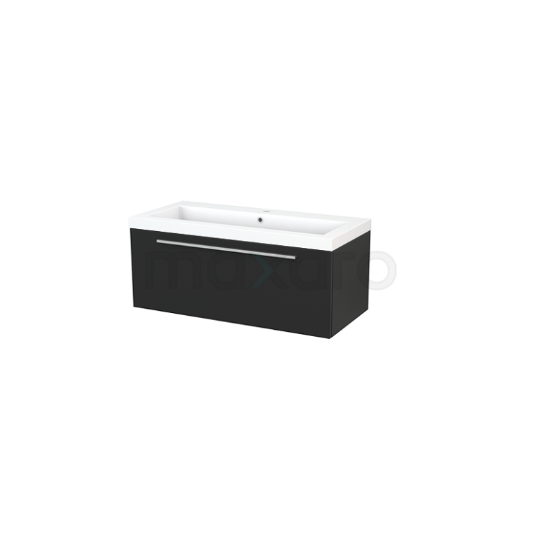 Maxaro Modulo+ BMP001906 Badkamermeubel 100cm Modulo+ Carbon 1 Lade Vlak Mineraalmarmer