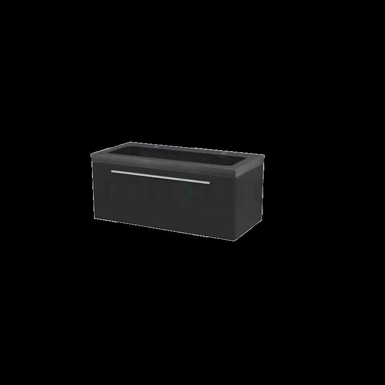 Badkamermeubel 100cm Modulo+ Carbon 1 Lade Vlak Wastafel Natuursteen Graniet