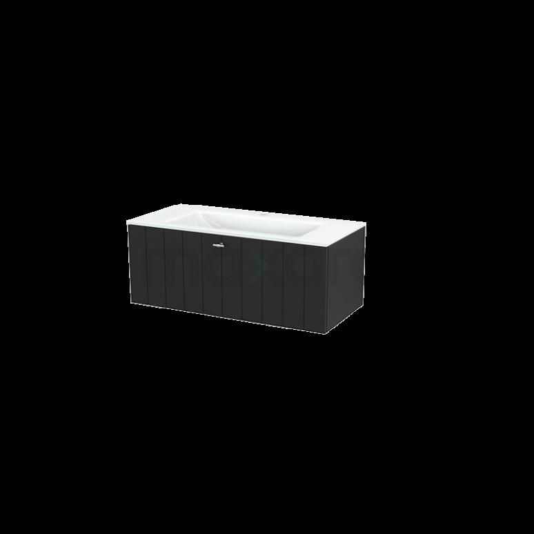 Badkamermeubel 100cm Modulo+ Carbon 1 Lade Lamel Wastafel Glas