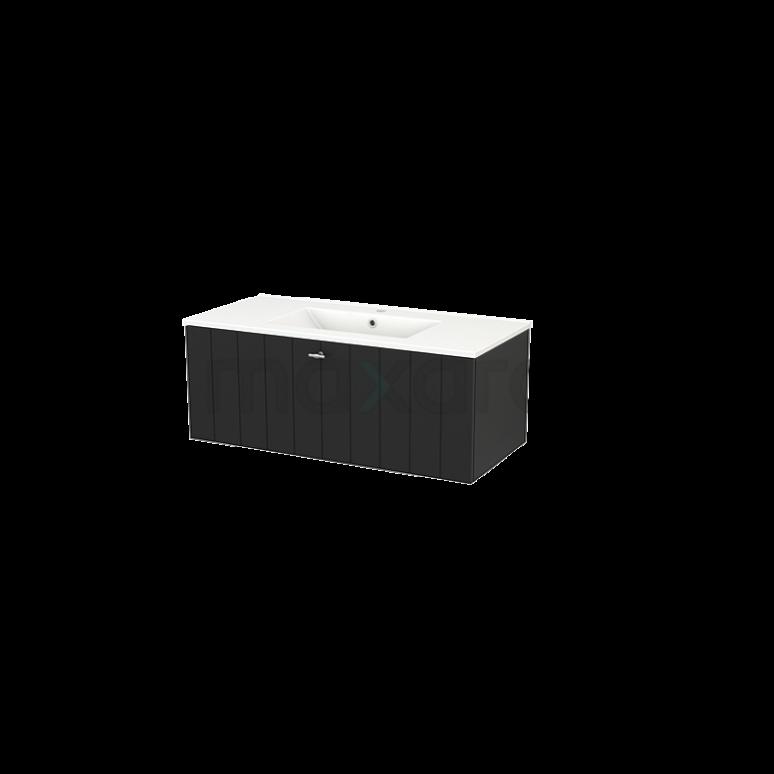 Badkamermeubel 100cm Modulo+ Carbon 1 Lade Lamel Wastafel Keramiek
