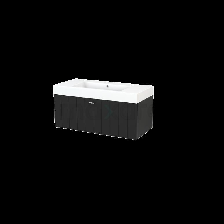 Maxaro Modulo+ BMP001920 Badkamermeubel 100cm Modulo+ Carbon 1 Lade Lamel Wastafel Mineraalmarmer