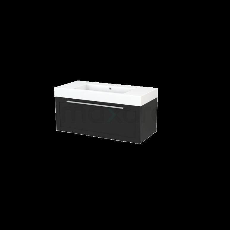 Badkamermeubel 100cm Modulo+ Carbon 1 Lade Kader Wastafel Mineraalmarmer
