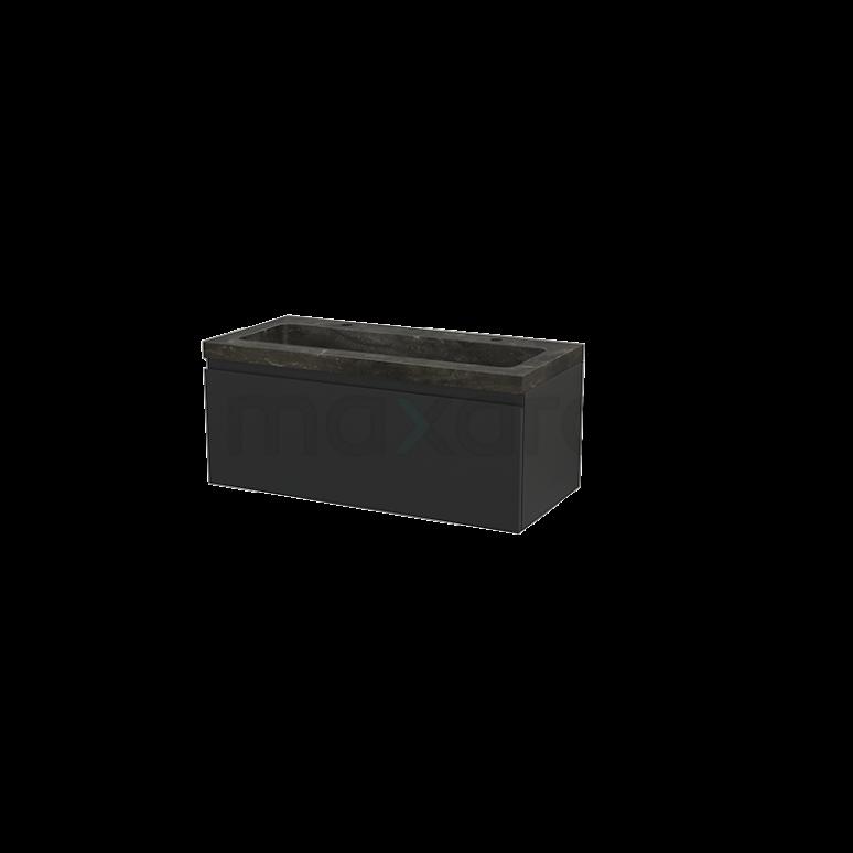 Maxaro Modulo+ BMP001941 Badkamermeubel 100cm Modulo+ Carbon 1 Lade Greeploos Wastafel Natuursteen Blue Stone