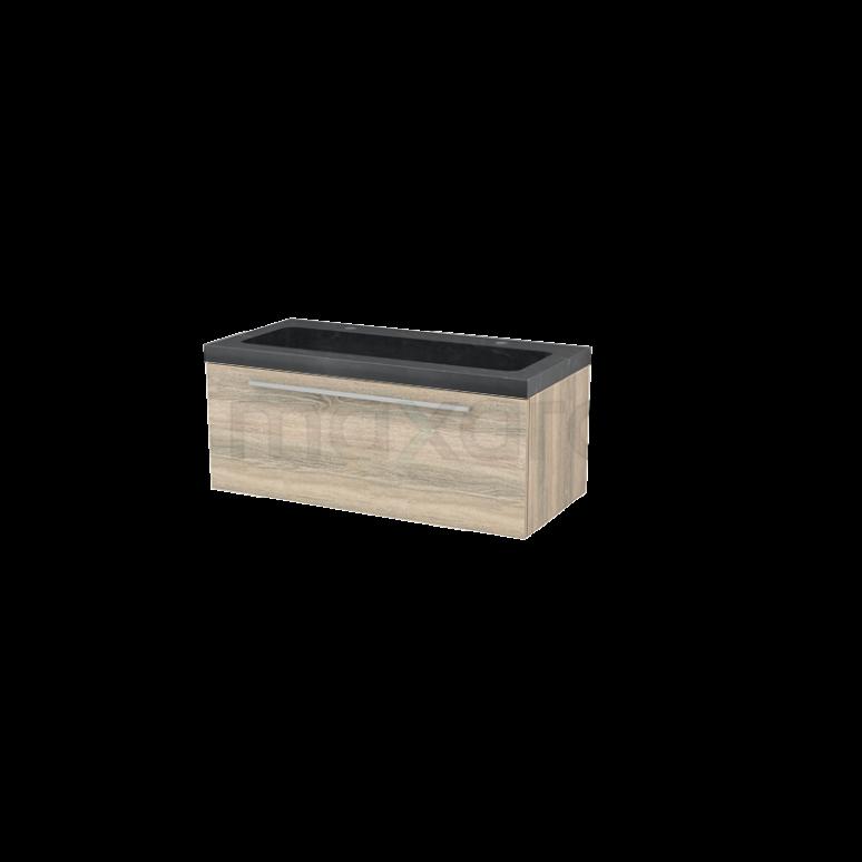 Badkamermeubel 100cm Modulo+ Eiken 1 Lade Vlak Wastafel Natuursteen Graniet