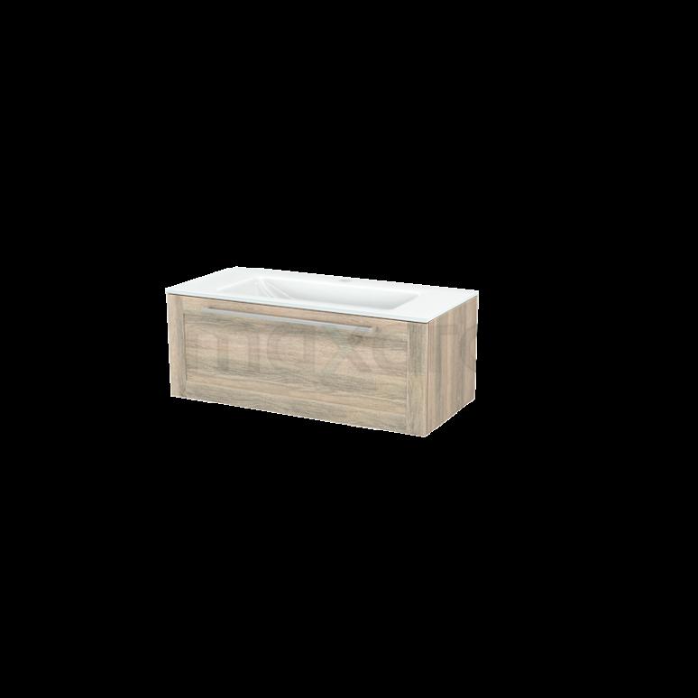 Badkamermeubel 100cm Modulo+ Eiken 1 Lade Kader Wastafel Glas