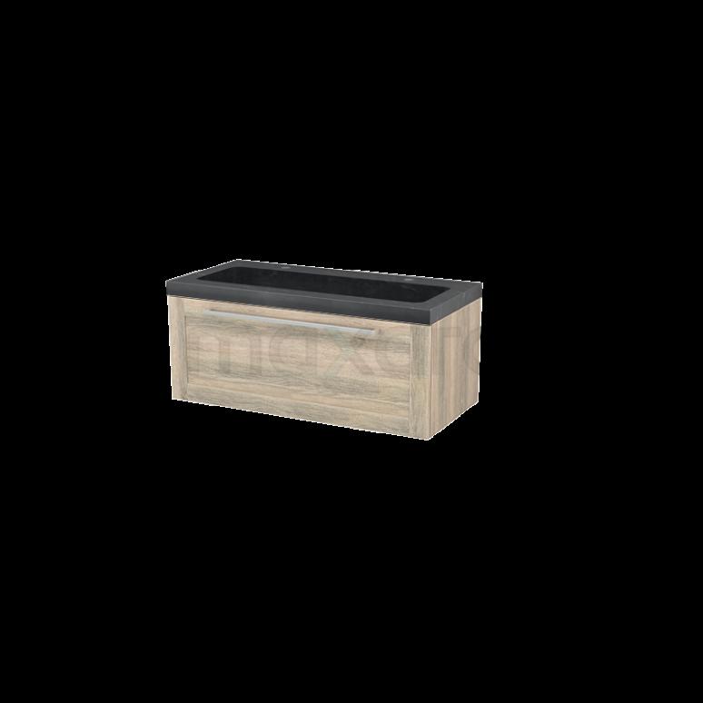 Badkamermeubel 100cm Modulo+ Eiken 1 Lade Kader Wastafel Natuursteen Graniet