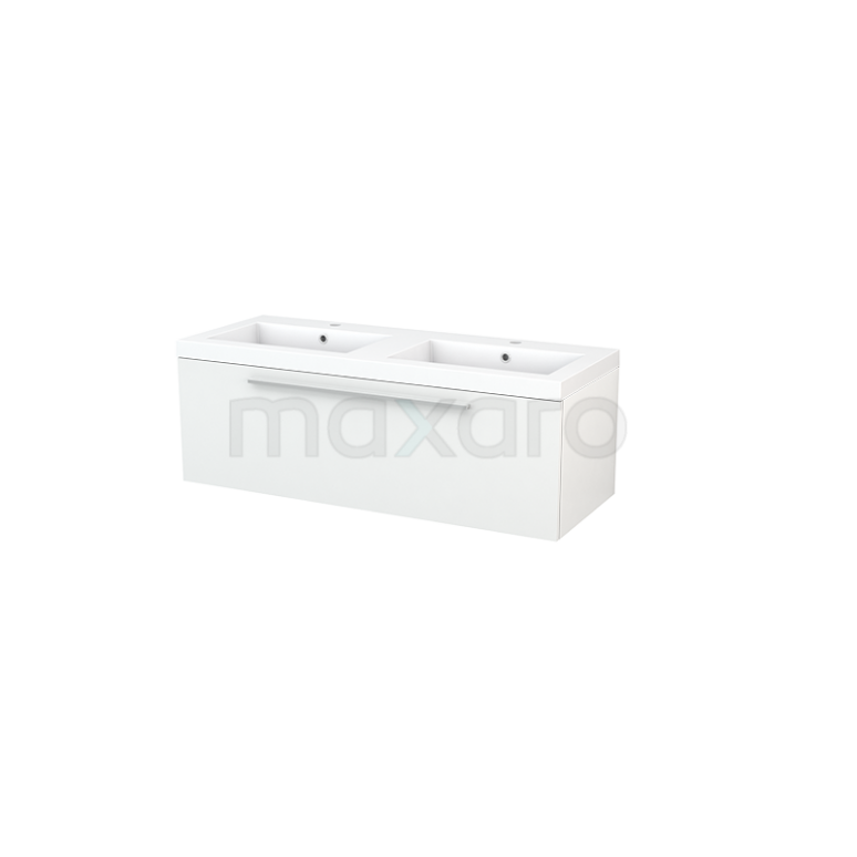 Badkamermeubel 120cm Modulo+ Hoogglans Wit 1 Lade Vlak Wastafel Mineraalmarmer