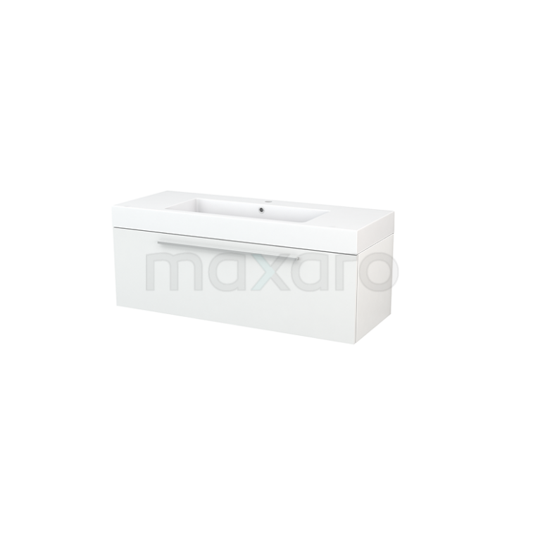 Maxaro Modulo+ BMP002021 Badkamermeubel 120cm Modulo+ Hoogglans Wit 1 Lade Vlak Mineraalmarmer