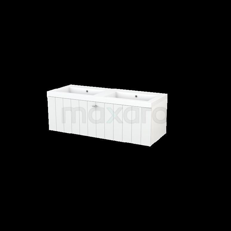 Badkamermeubel 120cm Modulo+ Hoogglans Wit 1 Lade Lamel Wastafel Mineraalmarmer