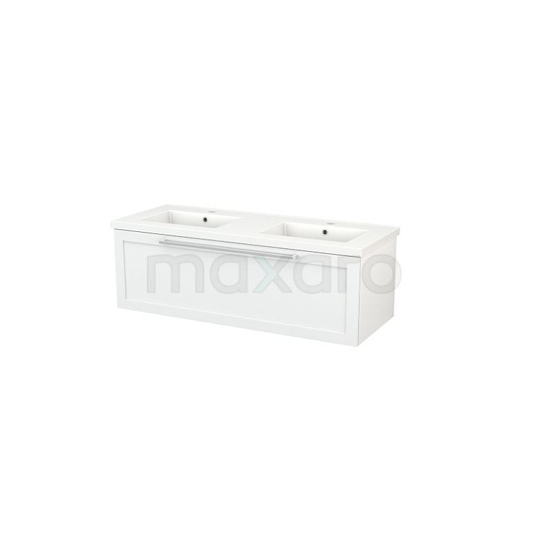 Maxaro Modulo+ BMP002050 Badkamermeubel 120cm Modulo+ Hoogglans Wit 1 Lade Kader Keramiek