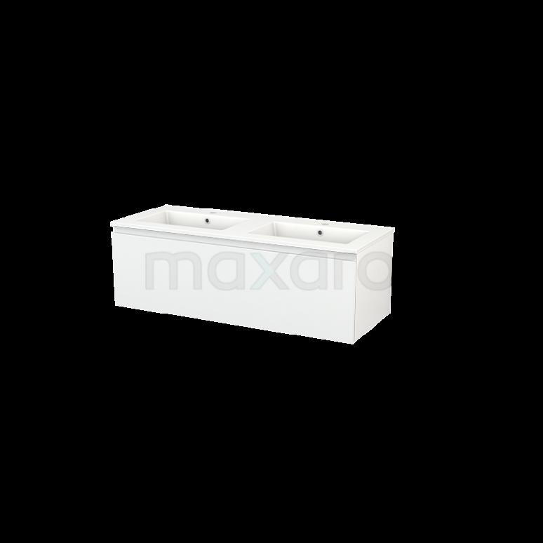 Maxaro Modulo+ BMP002062 Badkamermeubel 120cm Modulo+ Hoogglans Wit 1 Lade Greeploos Wastafel Keramiek