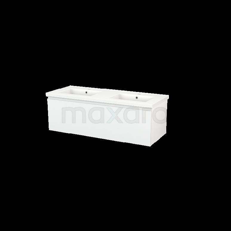 Badkamermeubel 120cm Modulo+ Hoogglans Wit 1 Lade Greeploos Wastafel Keramiek