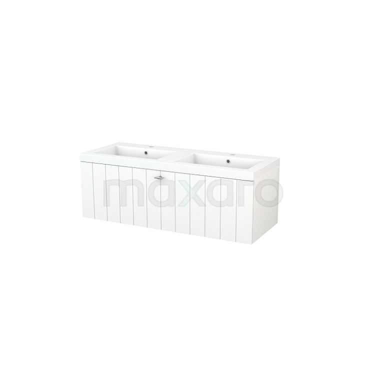 Maxaro Modulo+ BMP002081 Badkamermeubel 120cm Modulo+ Mat Wit 1 Lade Lamel Wastafel Mineraalmarmer