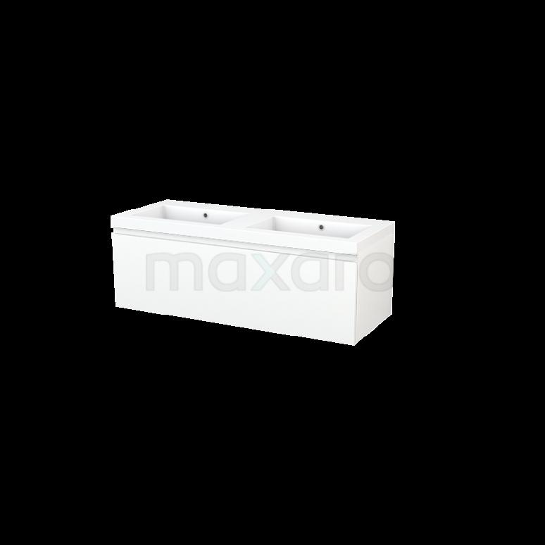 Badkamermeubel 120cm Modulo+ Mat Wit 1 Lade Greeploos Wastafel Mineraalmarmer