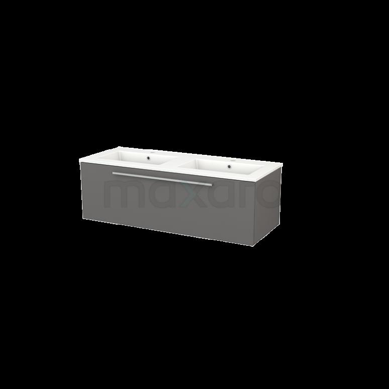 Badkamermeubel 120cm Modulo+ Basalt 1 Lade Vlak Wastafel Keramiek