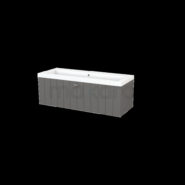 Badkamermeubel 120cm Modulo+ Basalt 1 Lade Lamel Wastafel Mineraalmarmer