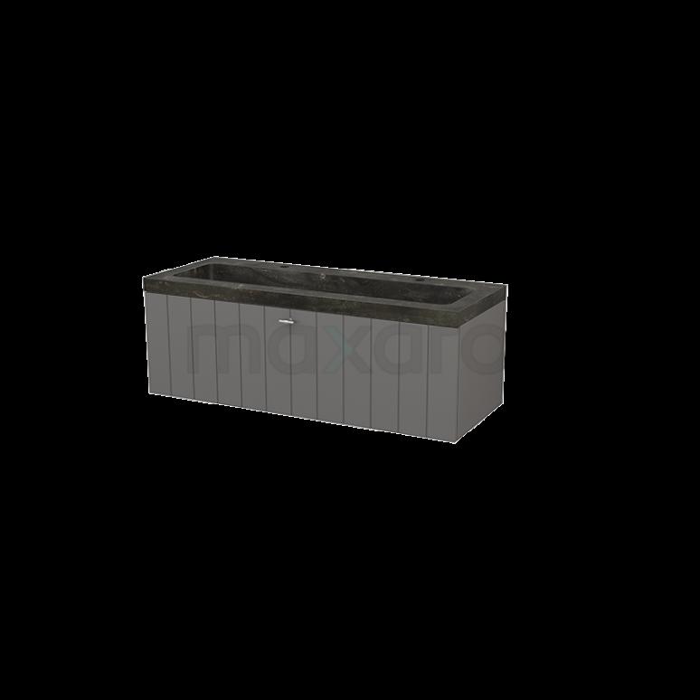 Badkamermeubel 120cm Modulo+ Basalt 1 Lade Lamel Wastafel Natuursteen Blue Stone