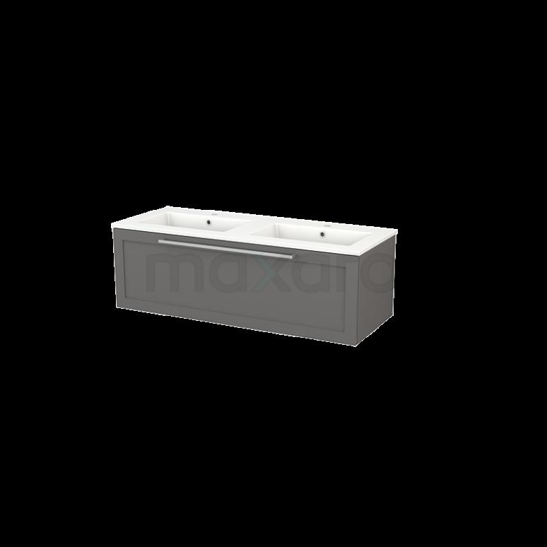 Badkamermeubel 120cm Modulo+ Basalt 1 Lade Kader Wastafel Keramiek