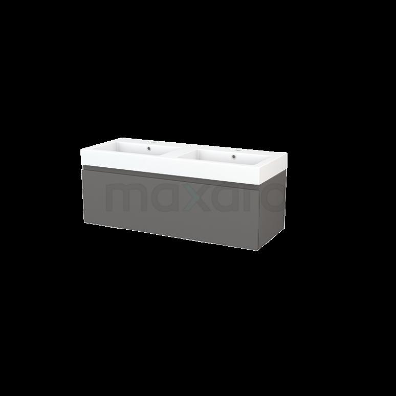 Badkamermeubel 120cm Modulo+ Basalt 1 Lade Greeploos Wastafel Mineraalmarmer