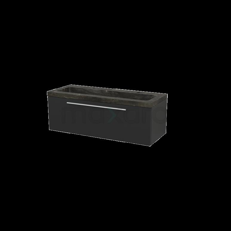 Badkamermeubel 120cm Modulo+ Carbon 1 Lade Vlak Wastafel Natuursteen Blue Stone