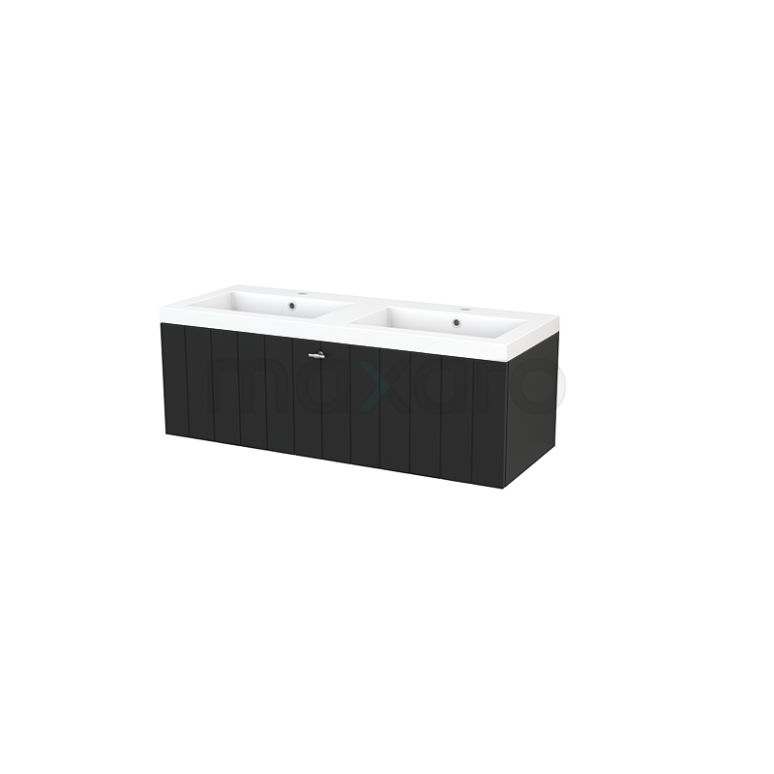 Maxaro Modulo+ BMP002185 Badkamermeubel 120cm Modulo+ Carbon 1 Lade Lamel Mineraalmarmer