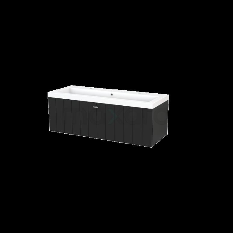 Maxaro Modulo+ BMP002186 Badkamermeubel 120cm Modulo+ Carbon 1 Lade Lamel Mineraalmarmer