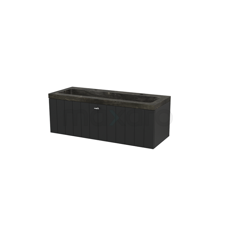 Badkamermeubel 120cm Modulo+ Carbon 1 Lade Lamel Wastafel Natuursteen Blue Stone