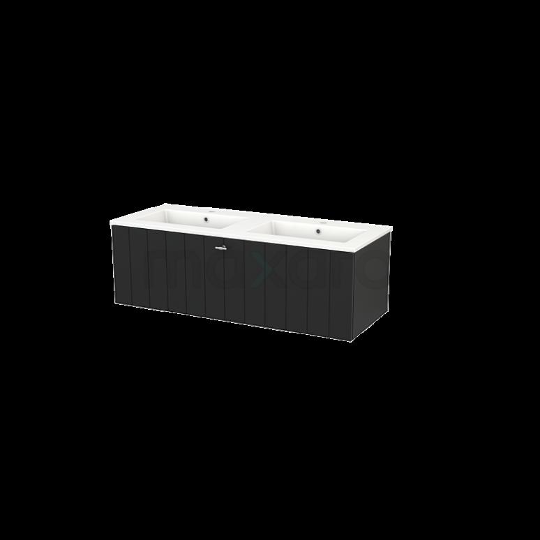Badkamermeubel 120cm Modulo+ Carbon 1 Lade Lamel Wastafel Keramiek