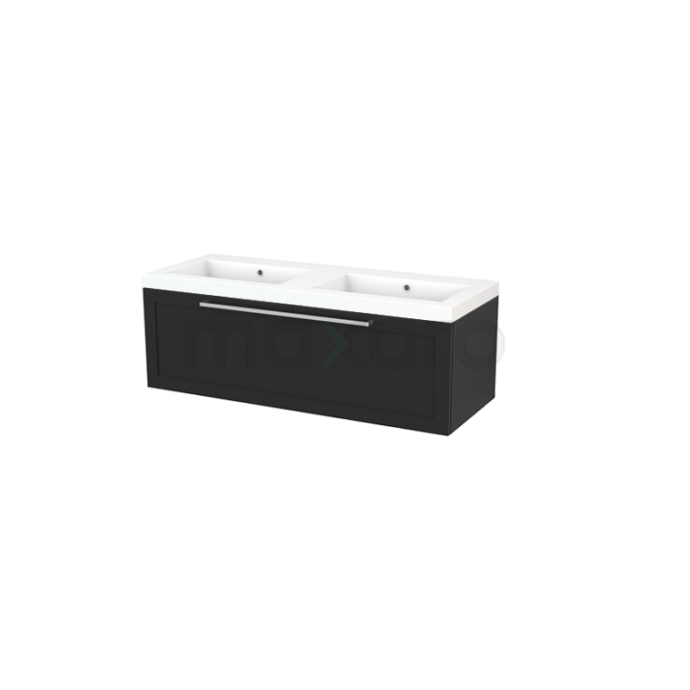 Badkamermeubel 120cm Modulo+ Carbon 1 Lade Kader Wastafel Mineraalmarmer