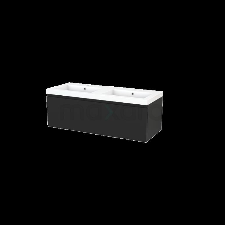 Badkamermeubel 120cm Modulo+ Carbon 1 Lade Greeploos Wastafel Mineraalmarmer