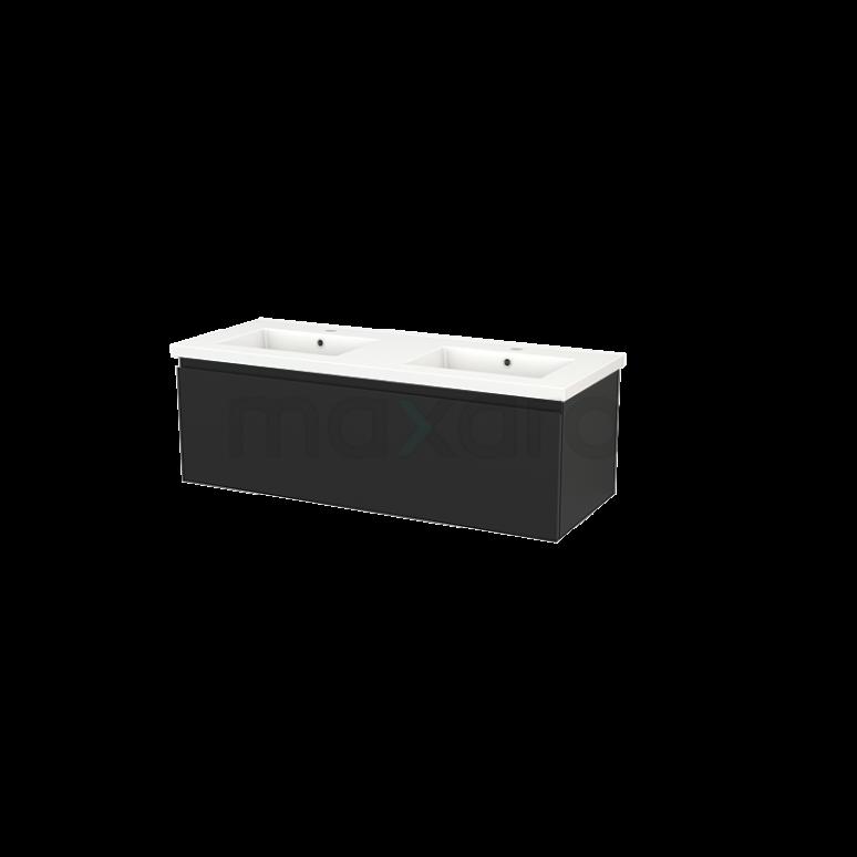 Badkamermeubel 120cm Modulo+ Carbon 1 Lade Greeploos Wastafel Keramiek